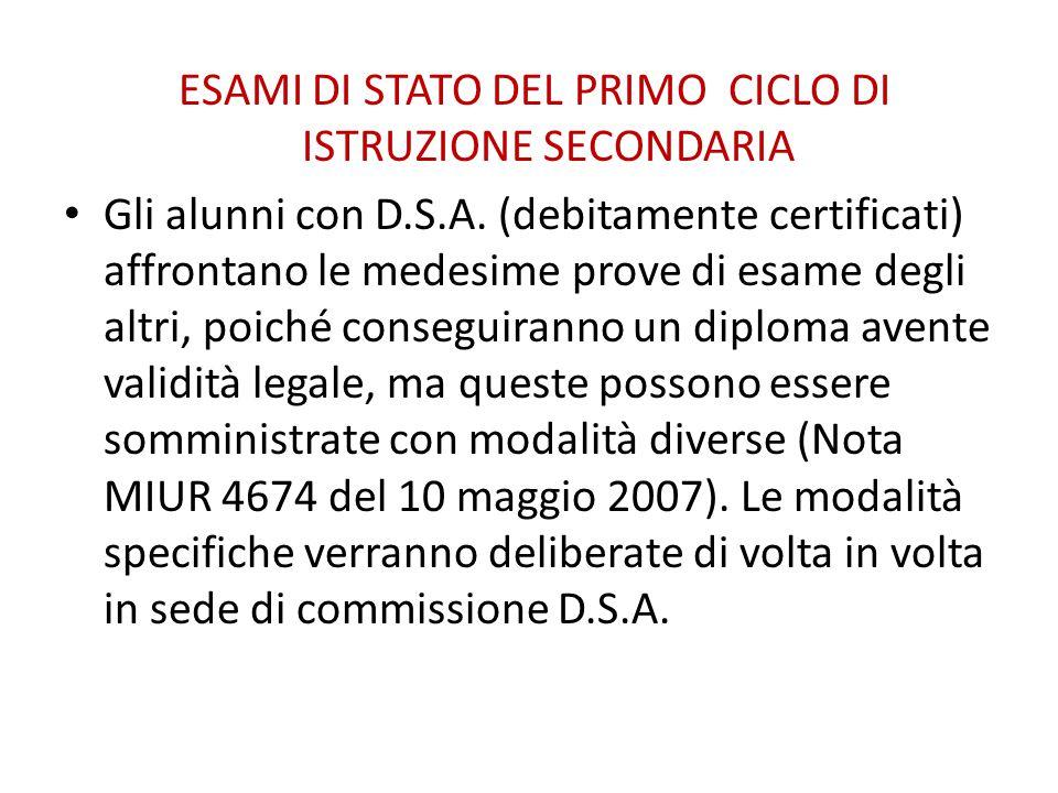 ESAMI DI STATO DEL PRIMO CICLO DI ISTRUZIONE SECONDARIA