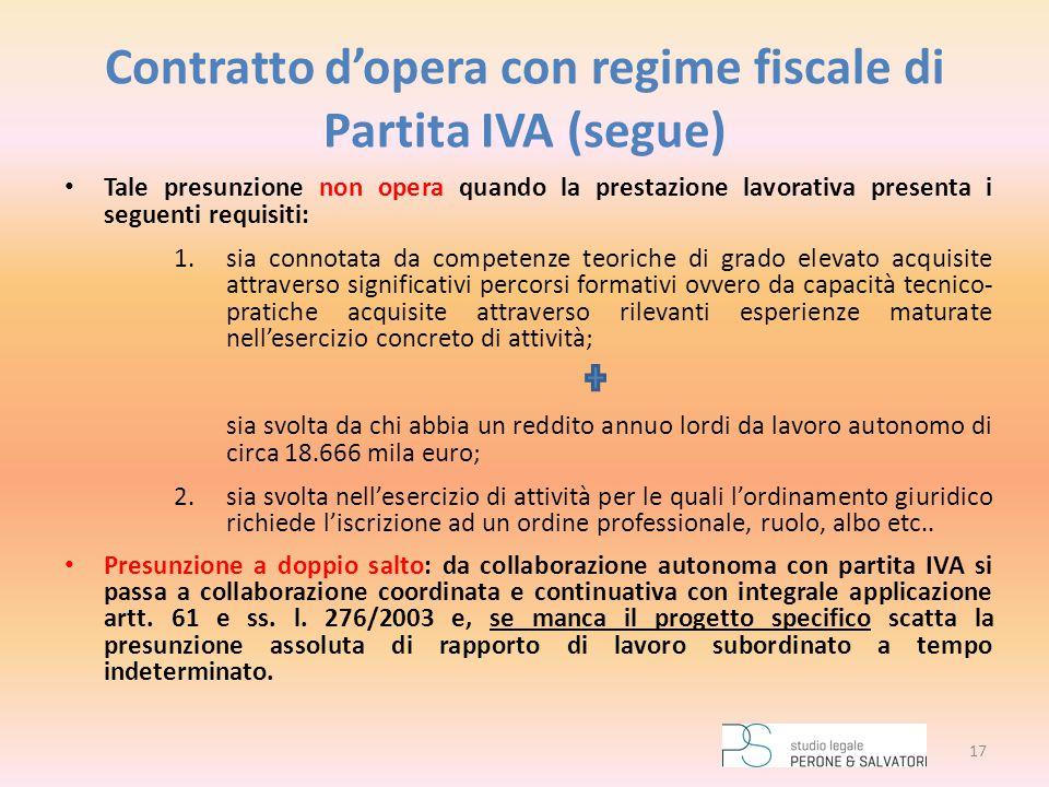 Contratto d'opera con regime fiscale di Partita IVA (segue)