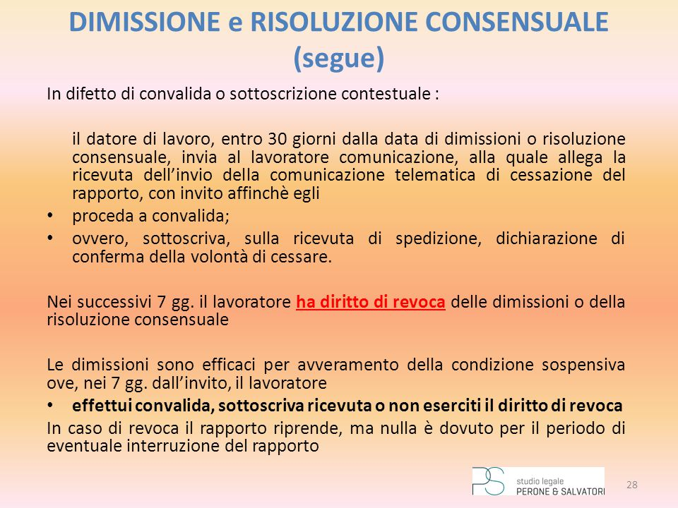DIMISSIONE e RISOLUZIONE CONSENSUALE (segue)