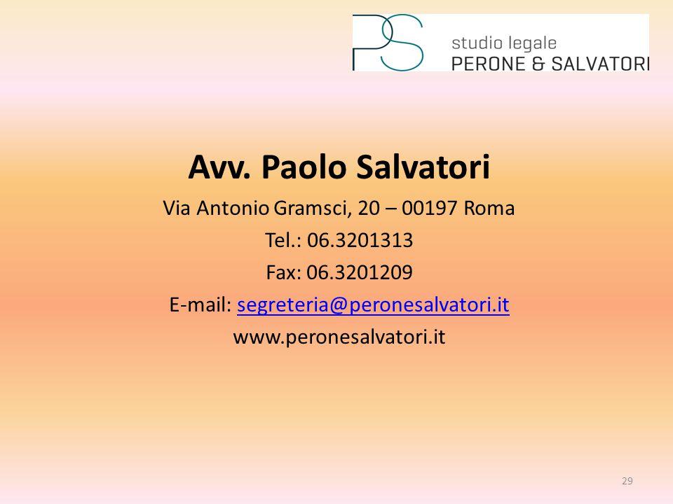Avv. Paolo Salvatori Via Antonio Gramsci, 20 – 00197 Roma