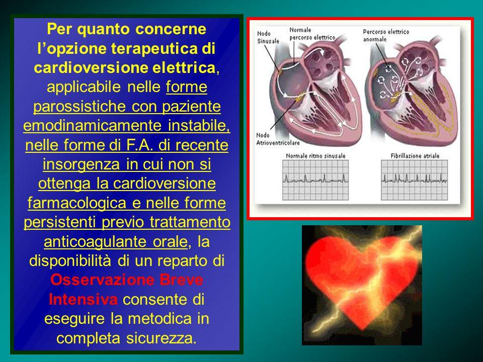 Per quanto concerne l'opzione terapeutica di cardioversione elettrica, applicabile nelle forme parossistiche con paziente emodinamicamente instabile, nelle forme di F.A.