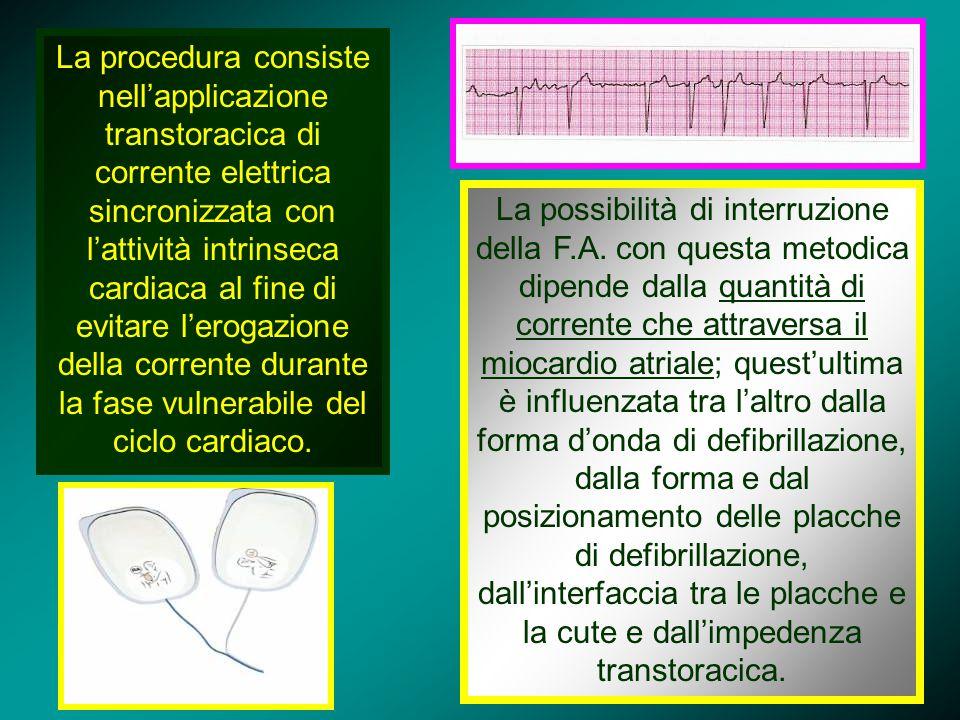 La procedura consiste nell'applicazione transtoracica di corrente elettrica sincronizzata con l'attività intrinseca cardiaca al fine di evitare l'erogazione della corrente durante la fase vulnerabile del ciclo cardiaco.