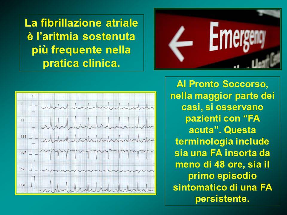 La fibrillazione atriale è l'aritmia sostenuta più frequente nella pratica clinica.