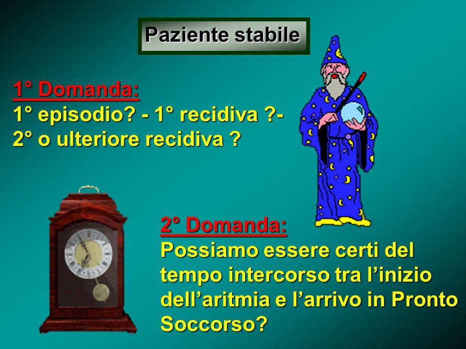 Paziente stabile 1° Domanda: 1° episodio - 1° recidiva - 2° o ulteriore recidiva 2° Domanda: