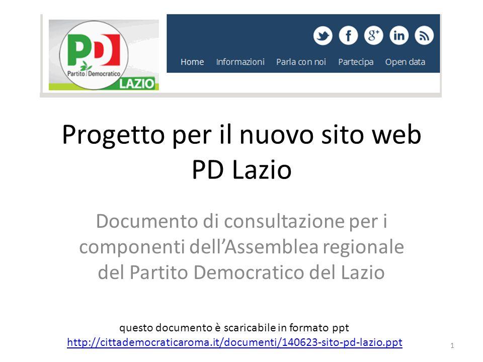 Progetto per il nuovo sito web PD Lazio