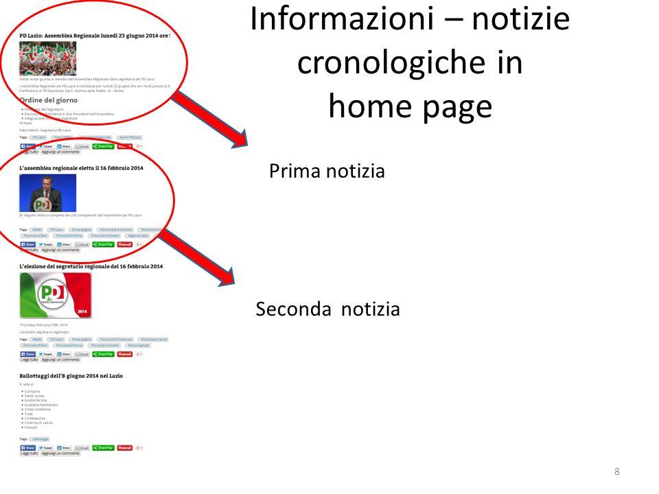 Informazioni – notizie cronologiche in home page