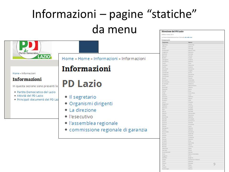 Informazioni – pagine statiche da menu