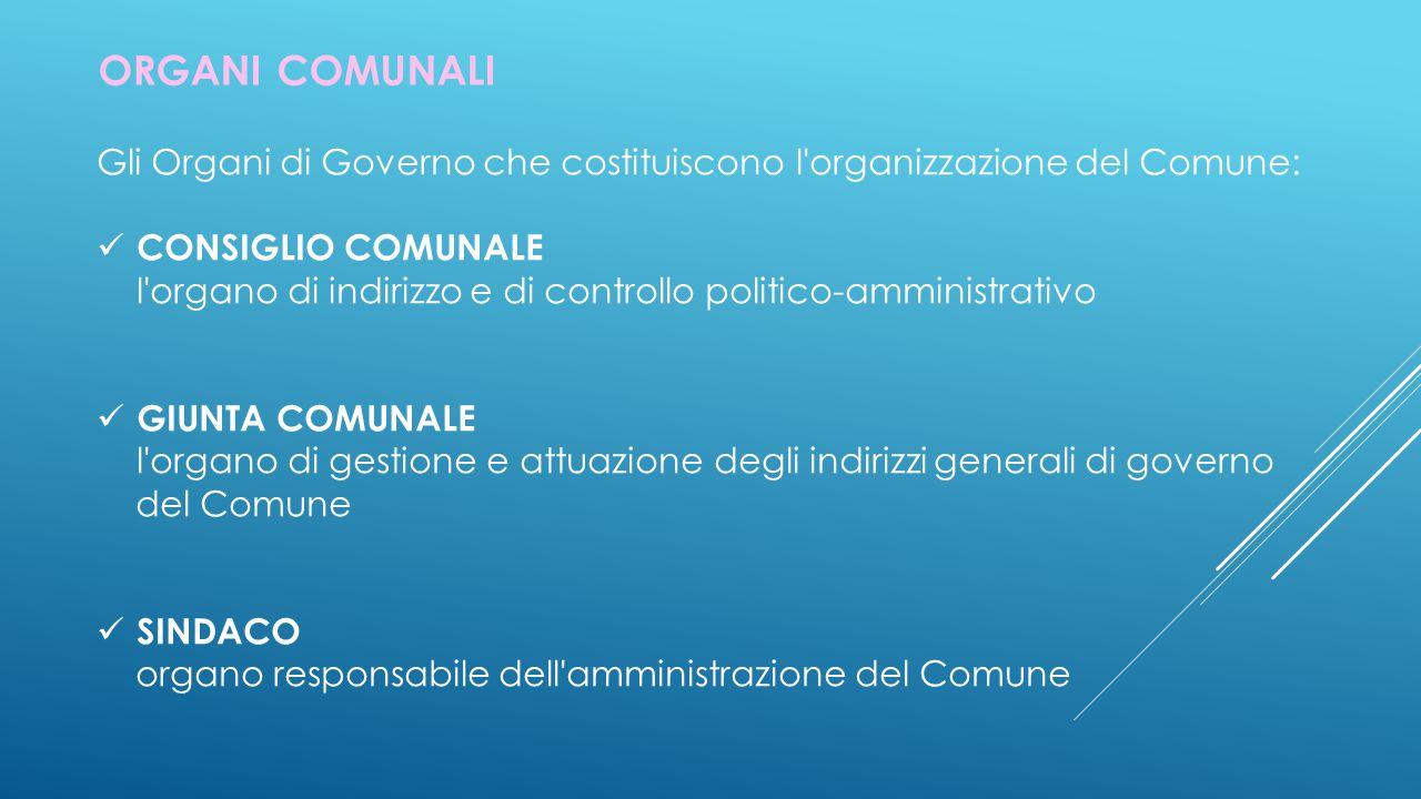 ORGANI COMUNALI Gli Organi di Governo che costituiscono l organizzazione del Comune: CONSIGLIO COMUNALE.