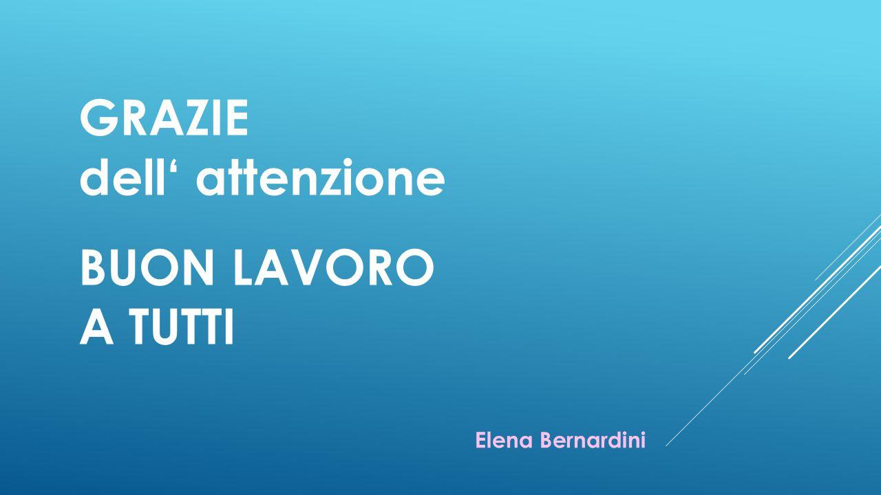 GRAZIE dell' attenzione BUON LAVORO A TUTTI Elena Bernardini