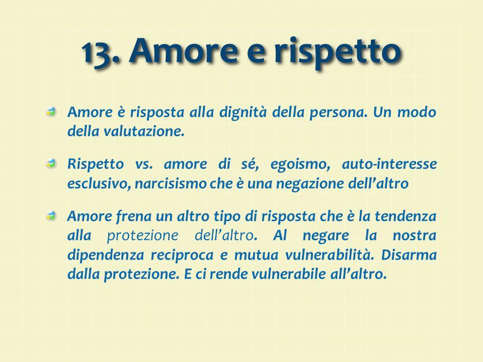 13. Amore e rispetto Amore è risposta alla dignità della persona. Un modo della valutazione.