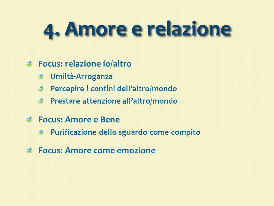 4. Amore e relazione Focus: relazione io/altro Focus: Amore e Bene