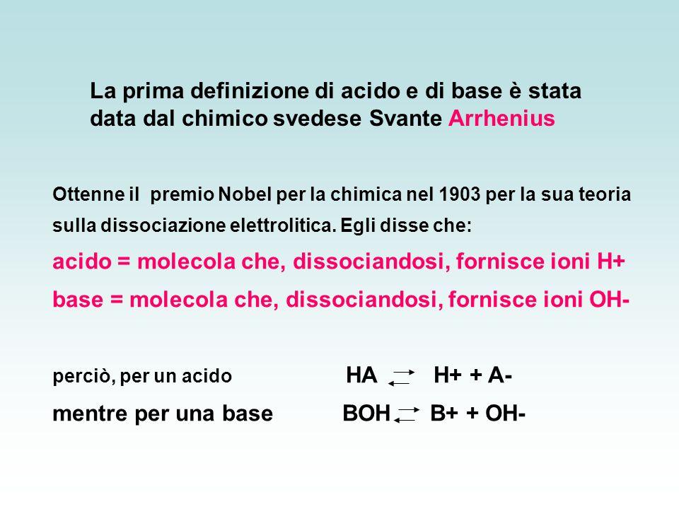 acido = molecola che, dissociandosi, fornisce ioni H+