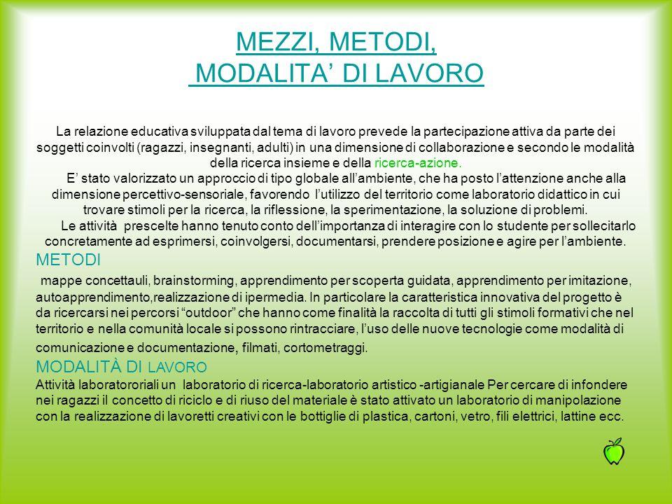 MEZZI, METODI, MODALITA' DI LAVORO
