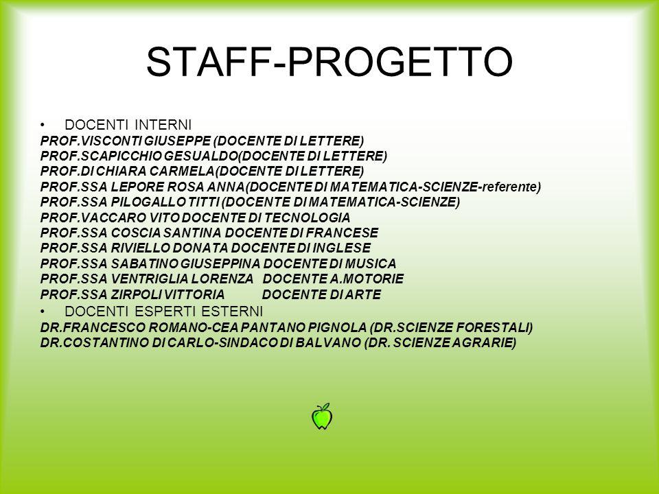 STAFF-PROGETTO DOCENTI INTERNI DOCENTI ESPERTI ESTERNI