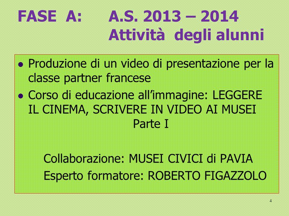 FASE A: A.S. 2013 – 2014 Attività degli alunni
