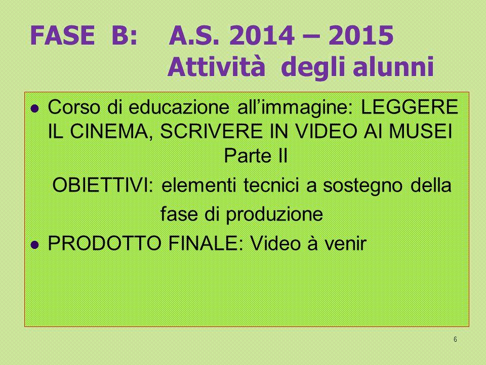 FASE B: A.S. 2014 – 2015 Attività degli alunni