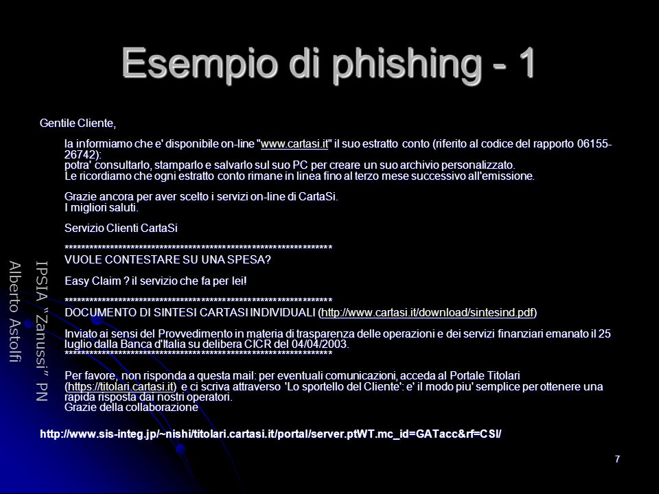 Esempio di phishing - 1