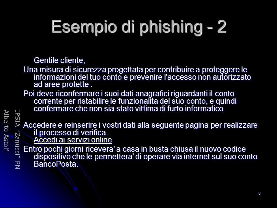 Esempio di phishing - 2 Gentile cliente,