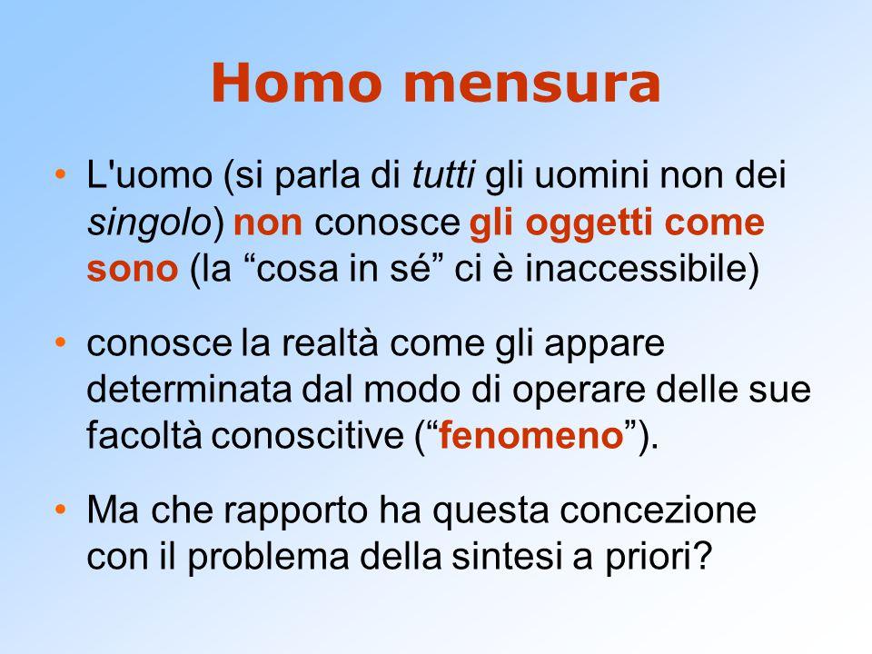 Homo mensura L uomo (si parla di tutti gli uomini non dei singolo) non conosce gli oggetti come sono (la cosa in sé ci è inaccessibile)