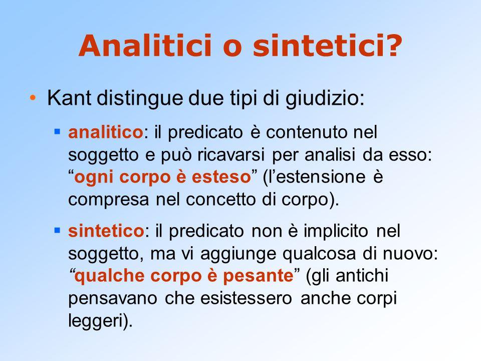 Analitici o sintetici Kant distingue due tipi di giudizio: