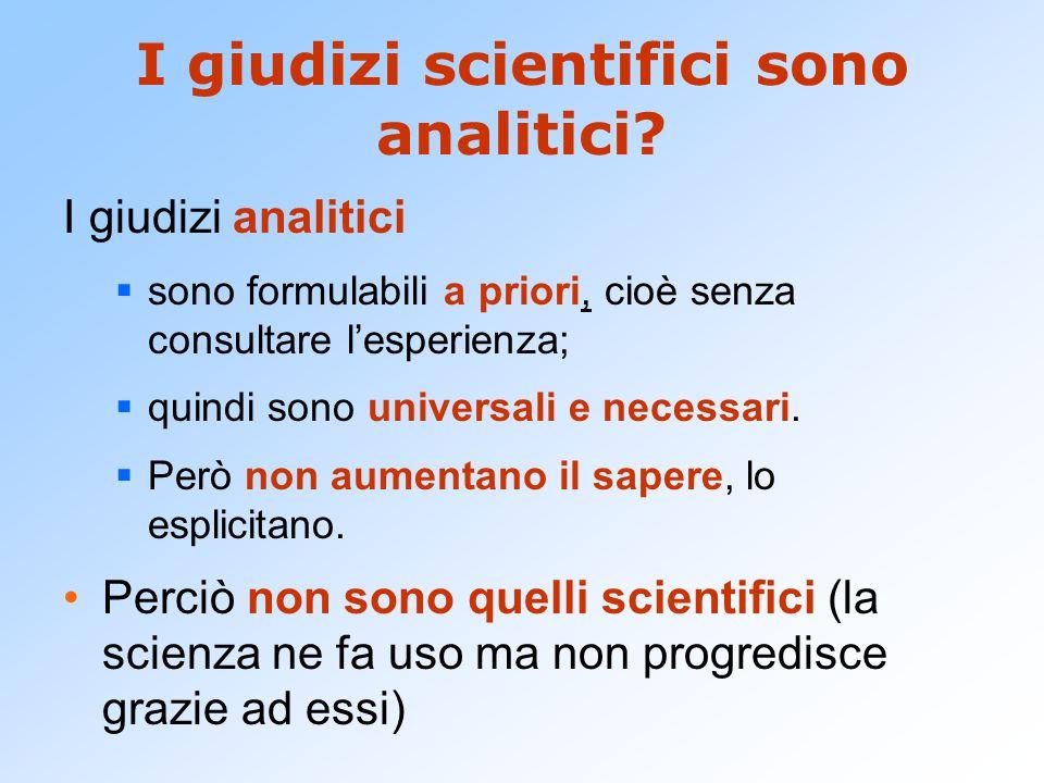 I giudizi scientifici sono analitici