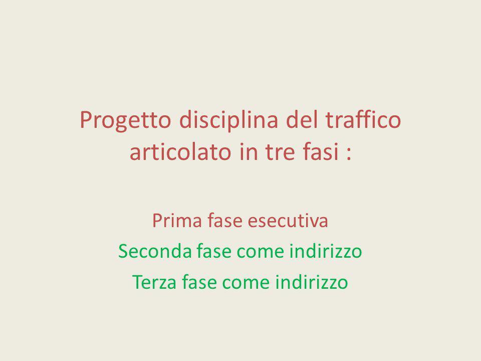 Progetto disciplina del traffico articolato in tre fasi :