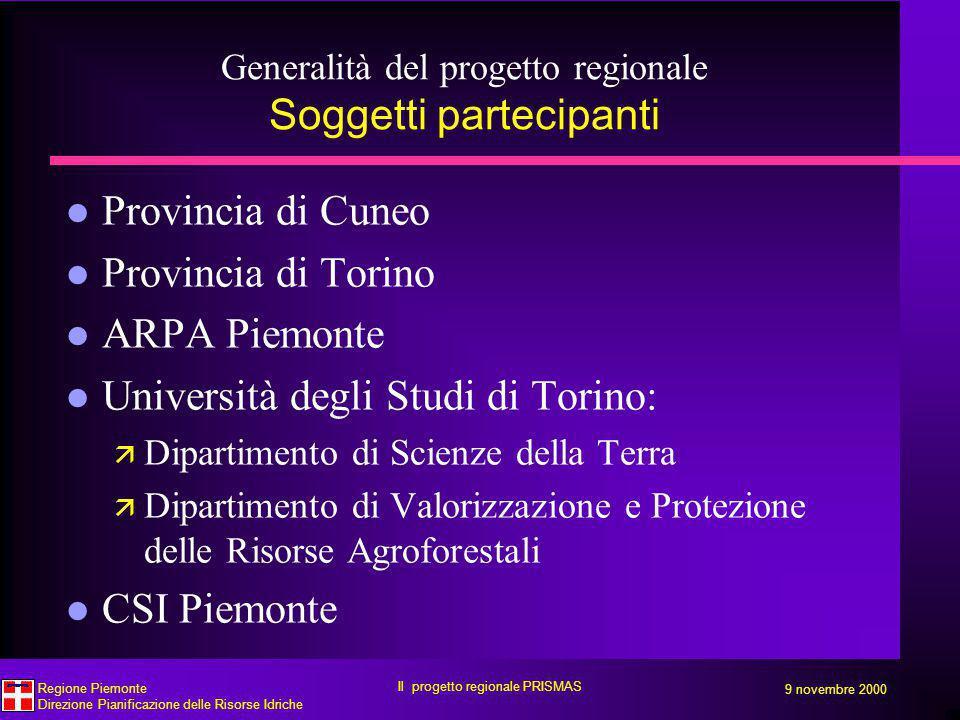 Generalità del progetto regionale Soggetti partecipanti