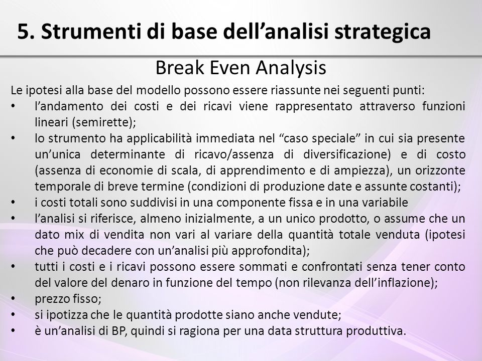 5. Strumenti di base dell'analisi strategica