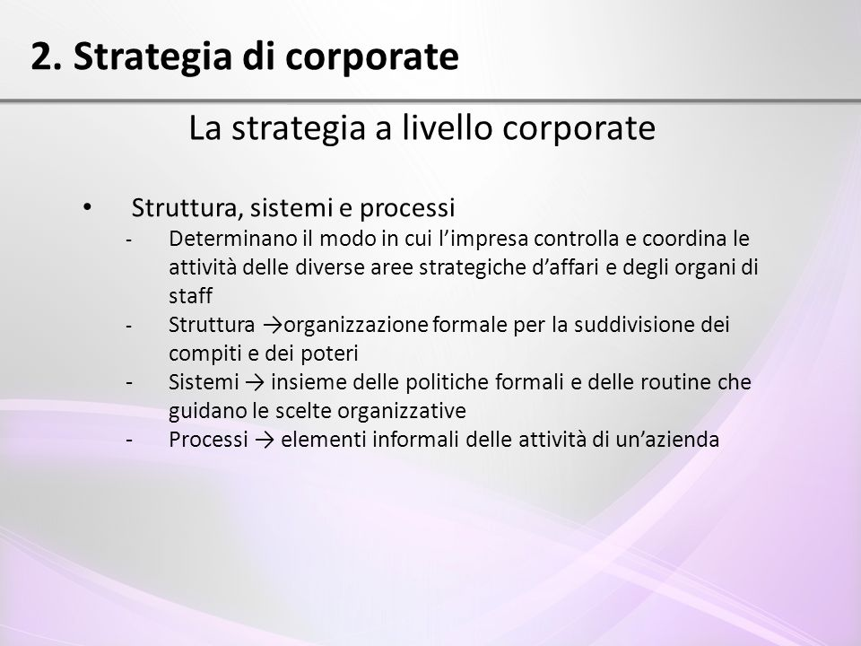 2. Strategia di corporate