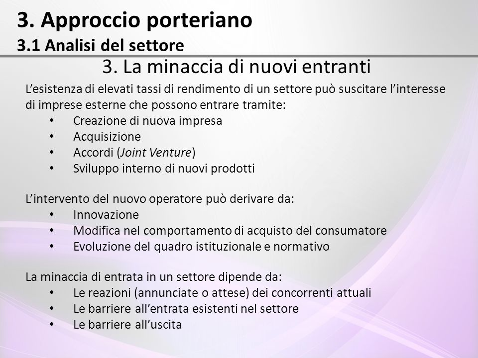 3. Approccio porteriano 3.1 Analisi del settore