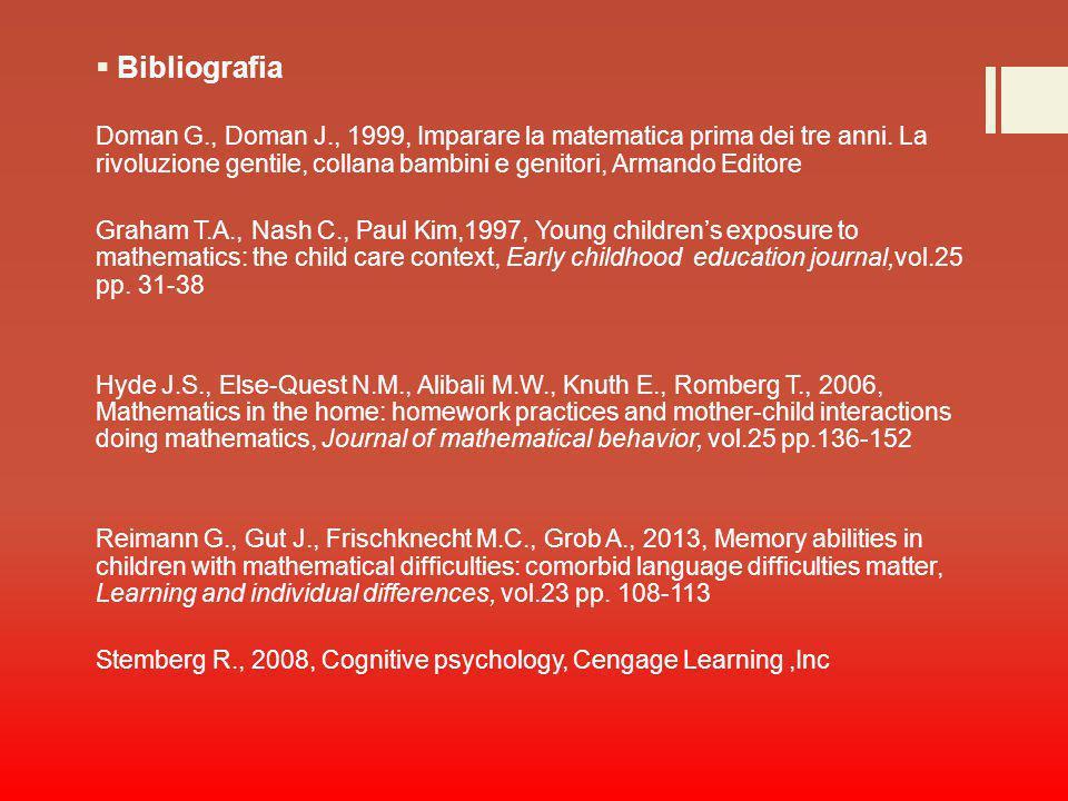 Bibliografia Doman G., Doman J., 1999, Imparare la matematica prima dei tre anni. La rivoluzione gentile, collana bambini e genitori, Armando Editore.
