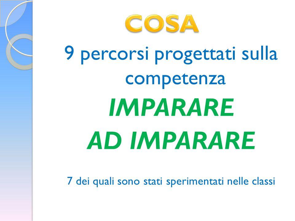 IMPARARE AD IMPARARE COSA 9 percorsi progettati sulla competenza