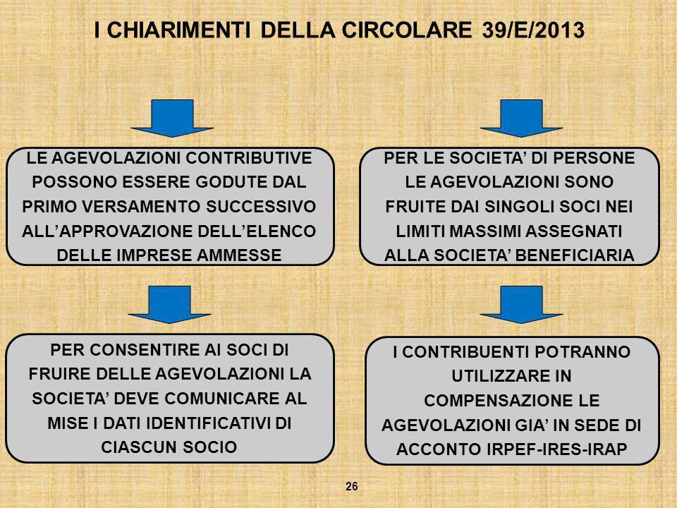 I CHIARIMENTI DELLA CIRCOLARE 39/E/2013