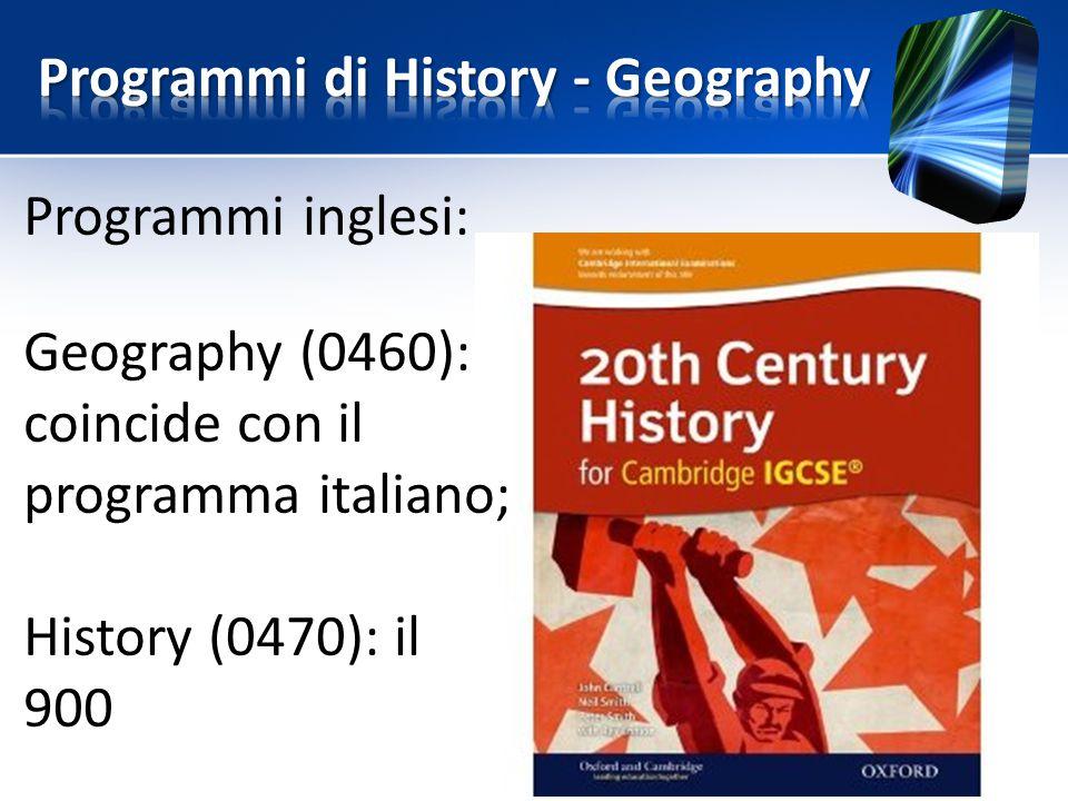 Programmi di History - Geography