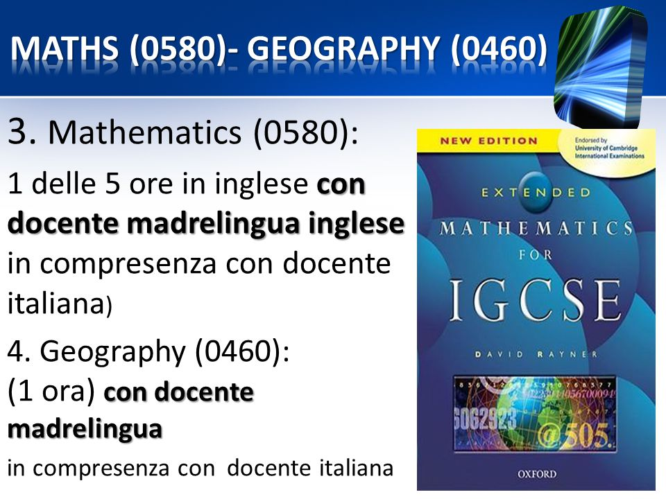 3. Mathematics (0580): MATHS (0580)- GEOGRAPHY (0460)