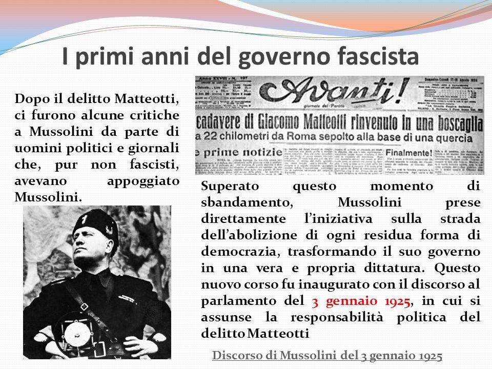 I primi anni del governo fascista
