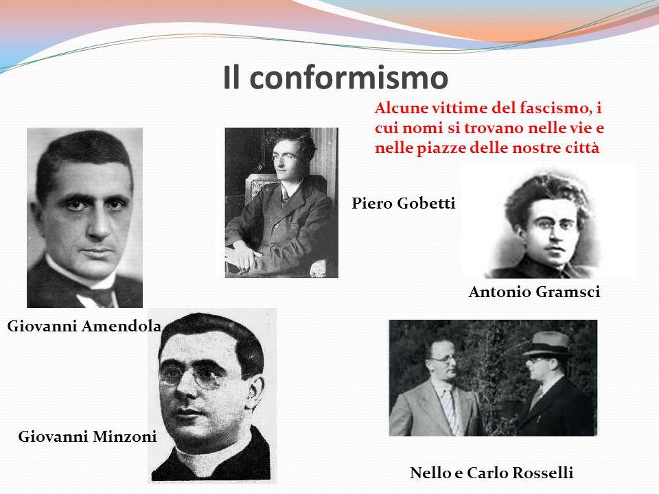 Il conformismo Alcune vittime del fascismo, i cui nomi si trovano nelle vie e nelle piazze delle nostre città.