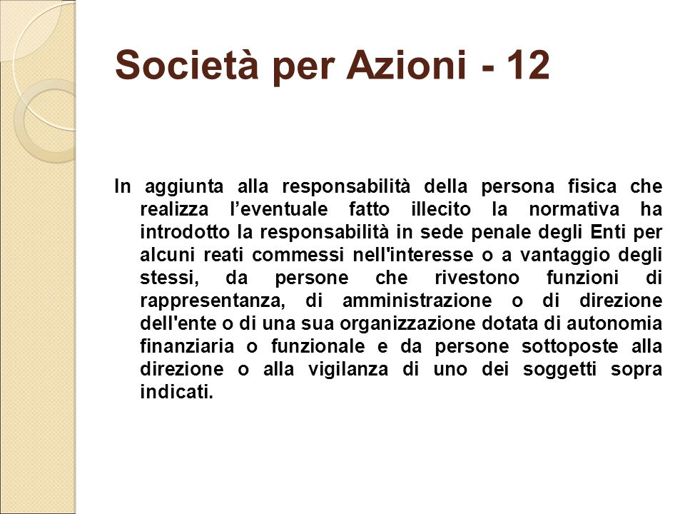 Società per Azioni - 12