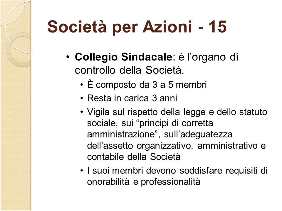 Società per Azioni - 15 Collegio Sindacale: è l'organo di controllo della Società. È composto da 3 a 5 membri.
