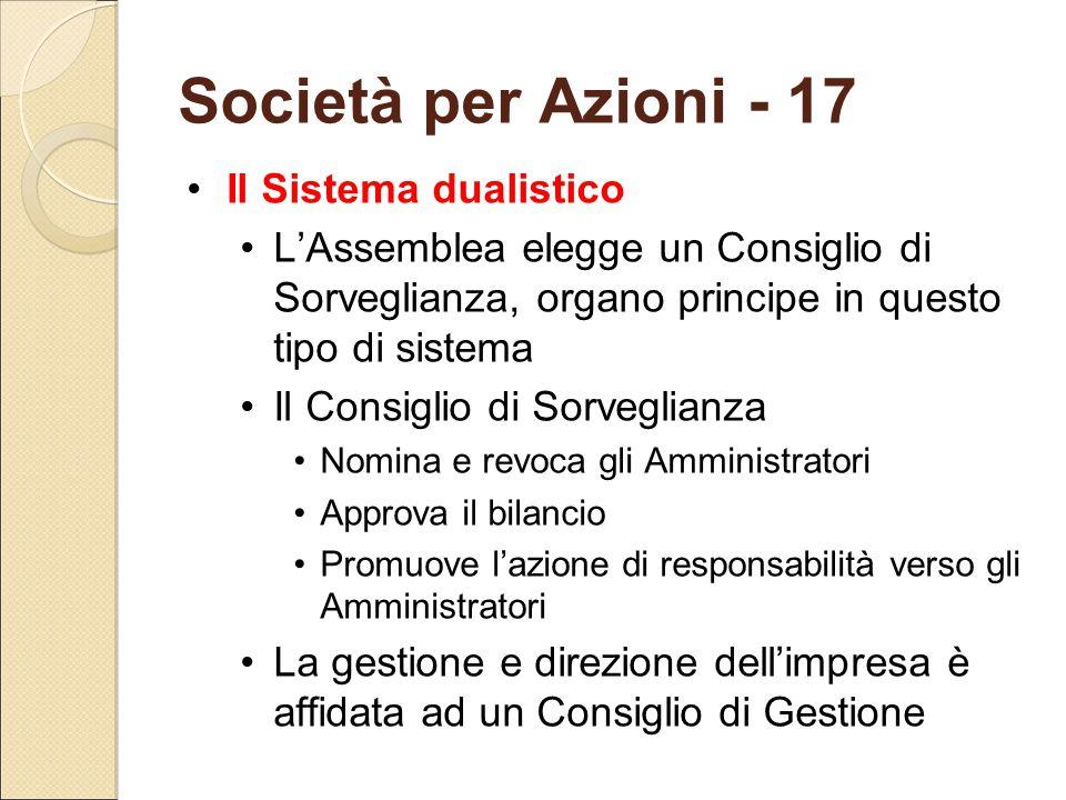 Società per Azioni - 17 Il Sistema dualistico