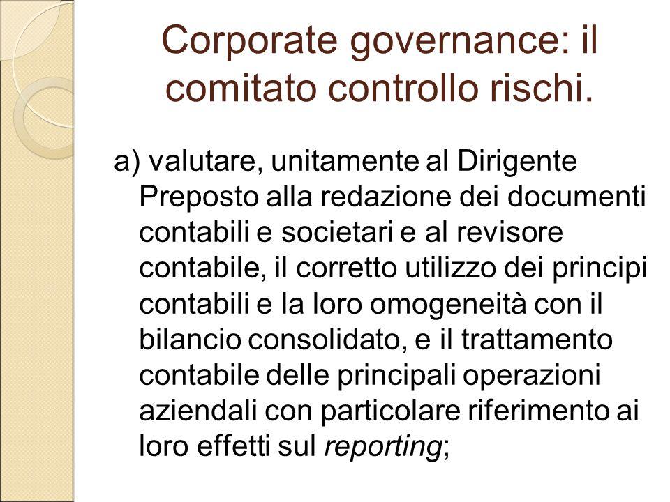 Corporate governance: il comitato controllo rischi.