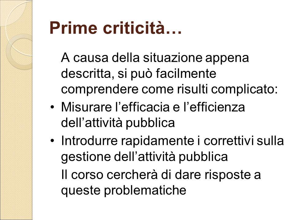 Prime criticità… A causa della situazione appena descritta, si può facilmente comprendere come risulti complicato: