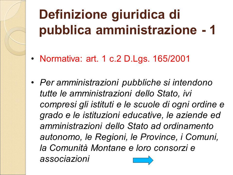 Definizione giuridica di pubblica amministrazione - 1