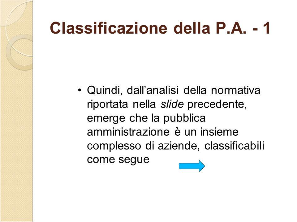 Classificazione della P.A. - 1