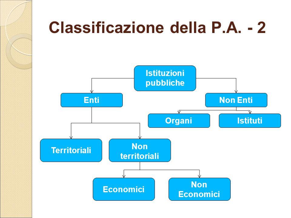 Classificazione della P.A. - 2