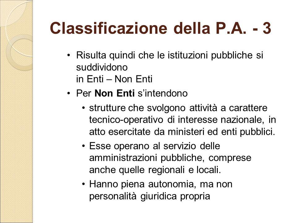 Classificazione della P.A. - 3