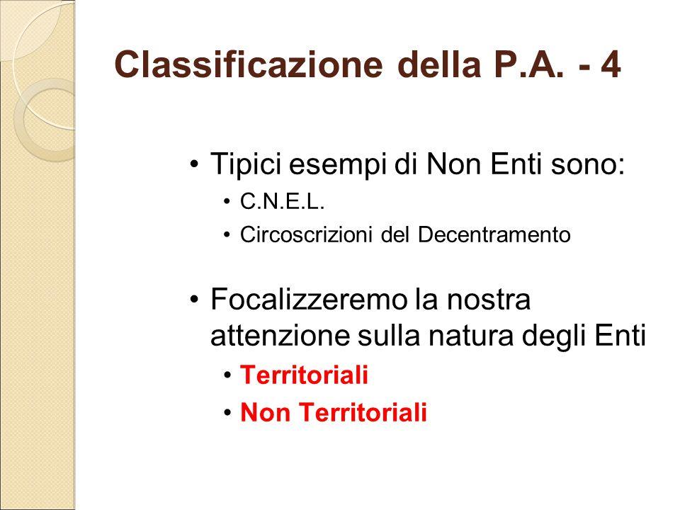 Classificazione della P.A. - 4
