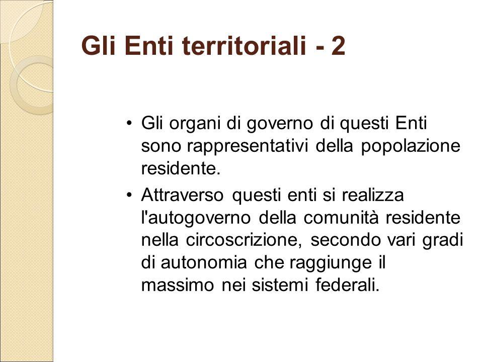 Gli Enti territoriali - 2
