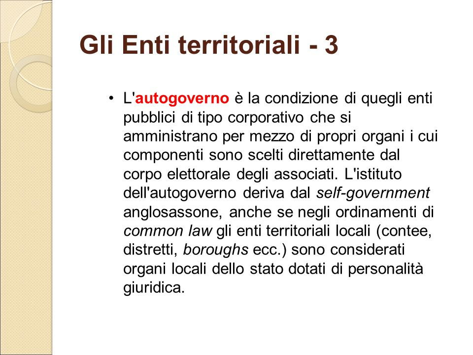 Gli Enti territoriali - 3