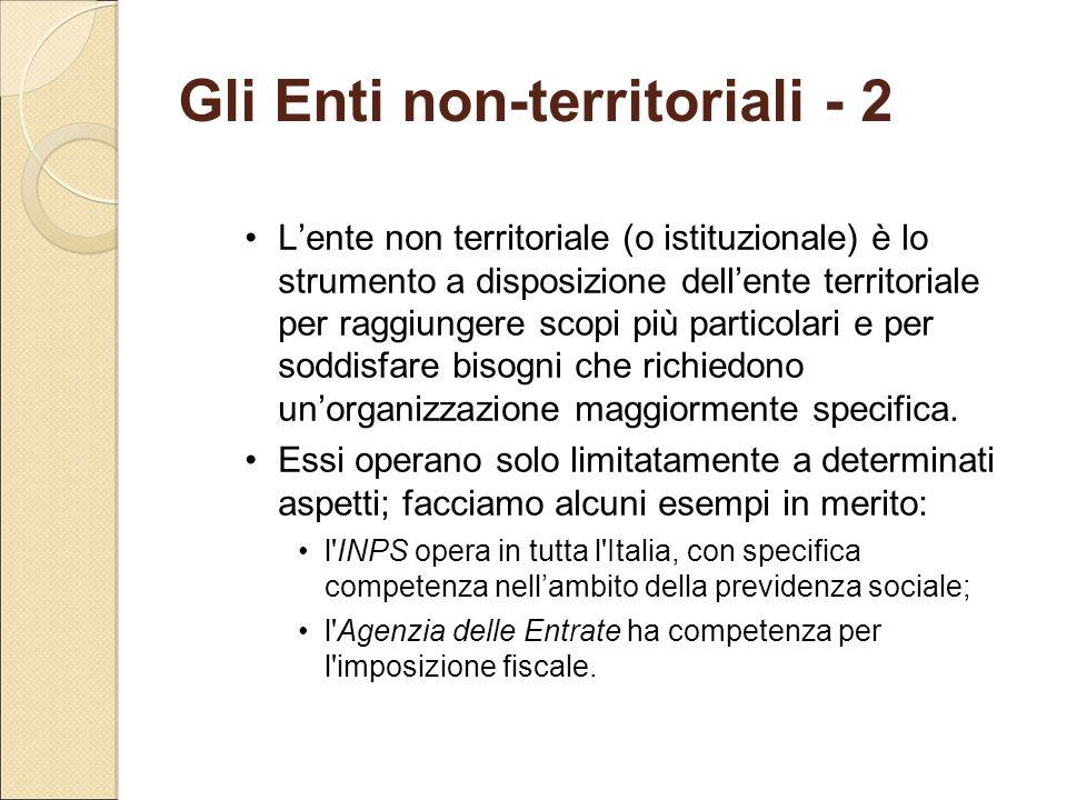 Gli Enti non-territoriali - 2